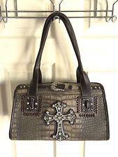 Montana West gray brown moc croc bling stud cross handbag purse NICE!