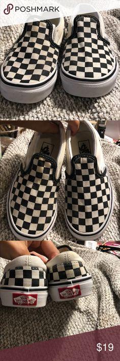 46db9582dc4d Kids Checkered B W Vans Slip on