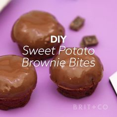 Make a dozen Sweet Potato Brownie Bites for dessert with this healthy video DIY recipe tutorial.