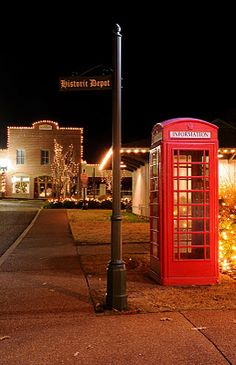 Collierville, Tennessee Christmas 2011. Phone Booth from England beside the Depot on the Square.