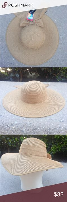 UPF50 packable straw floppy with burlap bow Paper braid straw, 4 3/4 inch Brim, upf50, packable.  Floppy shape. Adjustable inner draw sting Accessories Hats