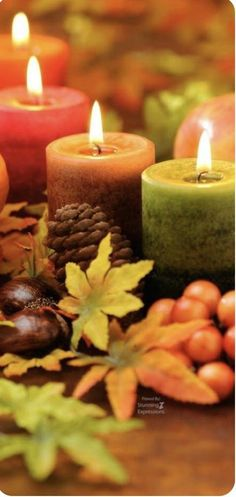 Cozy night with candles autumn