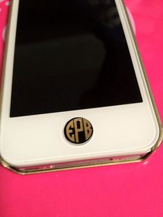 Set of 4Iphone/Ipad Button Decals & Monograms by LULUandBMonograms. , via Etsy.