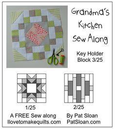 Pat Sloan Block 3 Key Holder Grandmas Kitchen button