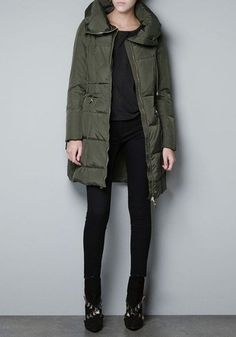 Green Bud Collar Thick Cotton Blend Down Coat
