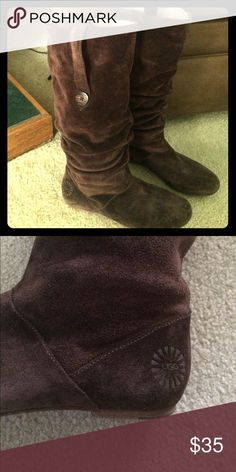 UGG Suede Boots Ugg brown suede boots are beautifully made with straps with button embellishments. Worn only a few times. UGG Shoes Winter & Rain Boots