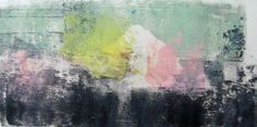 """Monotype print by April Jordan.  """"Sunlit Mountain.""""  Done with a Gelli plate."""