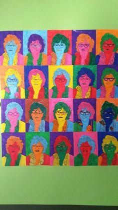 Voor het afscheid van de directrice een kunstwerk gemaakt met de klas. Elke leerling heeft een foto met stift gekleurd. Erg leuk geworden.. Painting, Painting Art, Paintings, Painted Canvas, Drawings