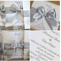 Invitacion boda en color plata y blanco, lazo en saten, texto en relieve.