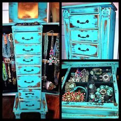 distressed turquoise jewelry box. I want/ need this!!!!