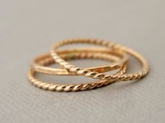 Gold Rings 3 Gold Filled Rings hammered and twist by bluebirdss
