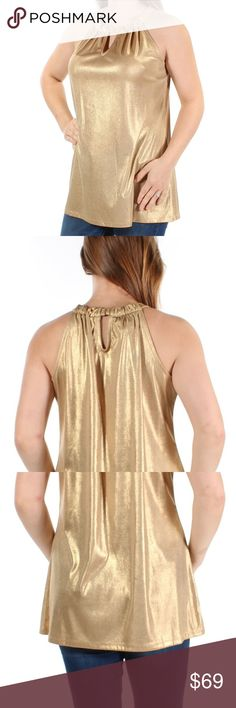 a8ef12f2b6bcca Gold Glitter Sleeveless Halter Party Top M About this Item Occassion: Party  Manufacturer: INC