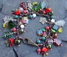Christmas Holiday Charm Bracelet  Enamel Glass Jade by jeanawells, $69.50