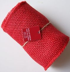 """NOW ON SALE 5 5"""" x 15ft 14cm x 4 5M Red 100 Burlap Jute Mesh Ribbon Unwired Finished Edge 