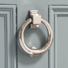 High quality stylish nickel hoop door knocker in ring design, made in the UK. Cast from solid brass with a nickel plated finish. This weighty design would suit traditional and contemporary doors. Sliding Glass Door, Front Door Accessories, Front Door Colors, Door Accessories, Black Door Handles, Door Fittings, Polished Nickel, Traditional Doors, Doors