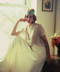 The Pola Negri-Art Deco Flapper Silk Chiffon Head Wrap-Vintage Headpiece-Great Gatsby Hair Accessories-1920s 1930s-Old Hollywood Glamour