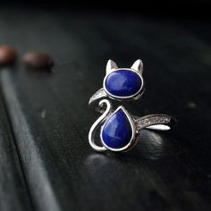 925 Sterling Silver Jewelry Classical Style Natural Lapis Lazuli Cat Adjustable Rings For Women