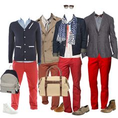 More red pants outfits for men; I favor the second and last one from left to right