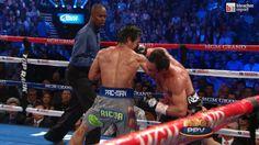 Twitter / BleacherReport: The huge shot by Juan Manuel  knocks Pacquiao OUT.
