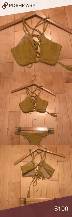 Acacia set bondi top / bottom in sunflower  L Acacia bondi top / Bingham bottom in sunflower  L  Both pieces are size L   Worn twice practically brand new   Top is $65 Bottom is 35  Can be bought separate of together . acacia swimwear Swim Bikinis