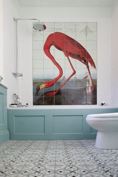 Bathroom in Oval Room Blue (paneling) and Pale Powder (non tiled area of walls). (I know all about the Flamingo Tiles, too...!)