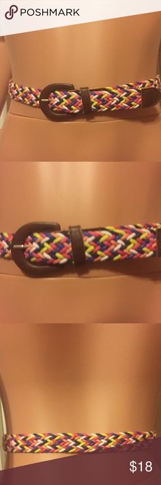 Multicolor Woven and Brown Leather Belt Size XS/S Women's Multicolor Woven and Brown Leather Belt Size XS/S. could also work for a girl. Fits up to a 28 in waist. In pristine condition! No brand name. Bundle and Save $! Accessories Belts