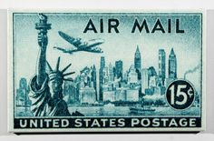 1947 new york skyline airmail postage stamp enlarged on canvas