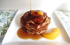 Pancakes made w/ 0% Peach Chobani!