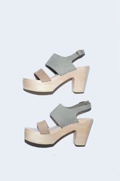 Two Tone Clog on Platform in Cement/Mocha
