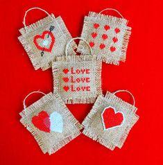 Set of Five Cross Stitch Shabby Chic Valentines Decorations on