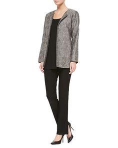 -5LWA Eileen Fisher  Washable-Crepe Boot-Cut Pants, Black, Women's   Long Silk Jersey Tunic, Black, Women's
