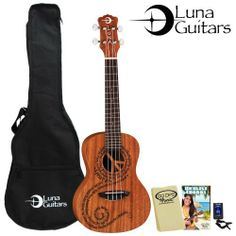 """Luna Guitars Maluhia Concert Ukulele (UKE-MALU) with Gig Bag, Tuner, GoDpsMusic Cleaning Cloth & GoDpsMusic Instruction Guide by Luna Guitars. $106.00. This Mahogany Uke features a laser cut peace sign at the sound hole and the word """"peace"""" in different languages forming a graceful continuum across the soundboard.. Save 39% Off!"""