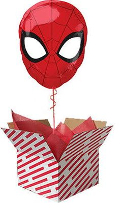 Spiderman Head Balloon in a Box Spiderman Balloon, Candy Stripes, Gifts For Boys, Ronald Mcdonald, Red And White, Best Gifts, Balloons, Teddy Bear, Superhero
