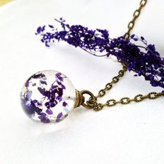 flower necklace nature jewelry purple necklace by MissMayoShop                                                                                                                                                                                 More