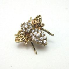 STERLING-SILVER-W-GOLD-VERMEIL-CZ-STONES-INSECT-BEE-BROOCH-PIN-PENDANT-TS