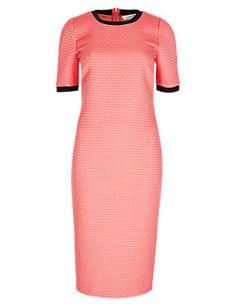 Coral Mix Textured Column Bodycon Dress