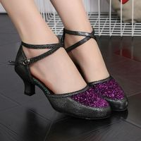 Ladies Closed Toe Modern Dance Shoes Heels Glitter Ballroom Wedding Party Dance Shoes Tango Salsa Dancing Shoes Indoor