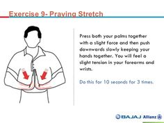 Praying Stretch. I have an entrapped ulnar nerve. This exercise helps me to re-gain my strength.