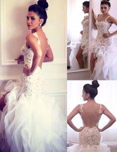 Fashion Straps Lace Appliques High-low Mermaid Wedding Dress Backless,wedding dresses 2016,mermaid wedding dresses,backless wedding dresses