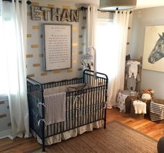 Horse and Hound Nursery with black, white, gold and gray accents. Love the black Jenny Lind crib! Baby Boy Themes, Baby Boy Rooms, Baby Boy Nurseries, Nursery Themes, Themed Nursery, Nursery Ideas, Nursery Bedding, Nursery Room, Jenny Lind Crib