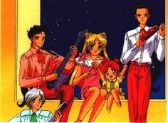 Sailormoon SailorStars. Kou Seiya, Kou Taiki, Tsukino Usagi, Chibi Chibi, and Kou Yaten.