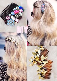 38 Creative DIY Hair Accessories - Bejeweled Hair Combs - Create Pretty Hairstyles for Women, Teens and Girls with These Easy Tutorials - Vintage and Boho Looks for Prom and Wedding - Step by Step Instructions for Cool Headbands, Barettes, Pony Tail Holders, Hair Clips, Bobby Pins and Bows http://diyprojectsforteens.com/diy-hair-accessories