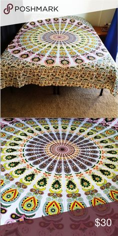 """Bed spread home decor housewarming gift tapestry💥 Handprinted wall hanging tapestry mandala.   😎Brand new.Handmade with natural dyes.   🤔Uses: bed spread, couch spread, curtains, wallhangings, Celling decor, beach mat, picnic mat, table cloth, 🕉 yoga & 🙏🏻meditation.   📐Size: 90"""" X 84"""" inch ( Queen bed)   🎀Material;💯% Cotton   🚿Wash: cold wash/dry like delicates.   💌➡️Website: http://www.rhyayfashion.com Shirts Polos"""