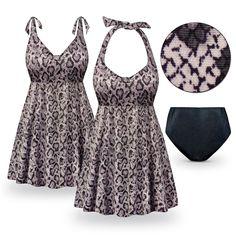 Customizable Snake Skin Print Halter or Shoulder Strap 2pc Plus Size Swimsuit/SwimDress 0x 1x 2x 3x 4x 5x 6x 7x 8x 9x