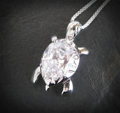 Crystal Tortoise Necklace Turtle Necklace Turtle Jewelry Crystal Tortoise Pendant Silver Chain. $39.00, via Etsy.