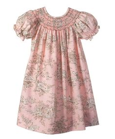 Candyland - Light Pink Toile Bishop Dress