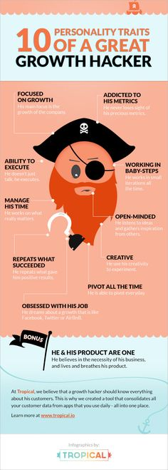 Infographic: 10 Personality Traits Of A Great Growth Hacker #infographic