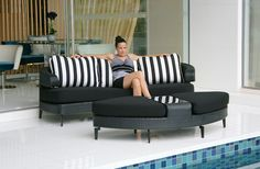 Backs and arms are interchangeable allowing them to transition from sofa, to chaise lounge, or to a bed.