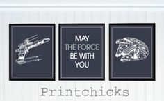 Custom Star Wars Pottery Barn Decor Personalized Star Wars Print Set - 8x10 via Etsy