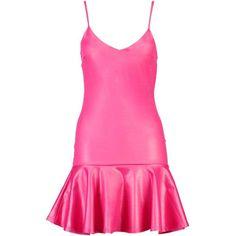 Boohoo Petite Hattie Drop Hem Strappy Dress ($6) ❤ liked on Polyvore featuring dresses, boohoo dresses, strappy dress, pink dress, strap dress and petite dresses